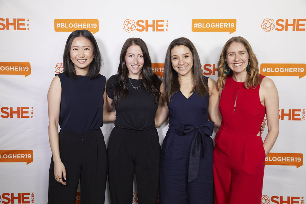 From left to right: Lin Chen, Dara Pollak, Alyssa Rimmer, and Phoebe pose before speaking on the #BlogHerU Social Media for Foodies panel.